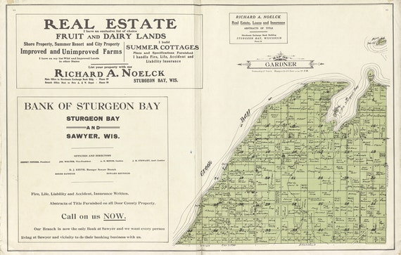 1914 Map of Door County Wisconsin Sturgeon