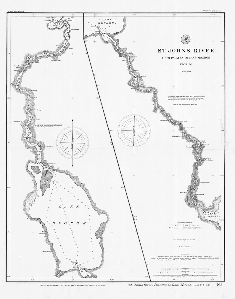 1898 Map of St Johns River Florida Palatka to Lake Monroe St Johns River Map on cross florida barge canal, volusia county, st. marys river, chattahoochee river, lake monroe, caloosahatchee river, pa river map, alpine river map, silver springs, russia river map, pee dee river map, john day river map, james river, peace river, huron river map, st. lawrence river map, tennessee river, caloosahatchee river map, arkansas river map, rio grande river map, vernon river map, dames point bridge, kingston river map, st. clair river map, missouri river map, ocklawaha river, suwannee river, mississippi river map, st. augustine, apalachicola river, indian river county, henry's fork river map, suwannee river map, mn river map, kanawha river map, withlacoochee river, st. louis river map, vero beach, lake george,