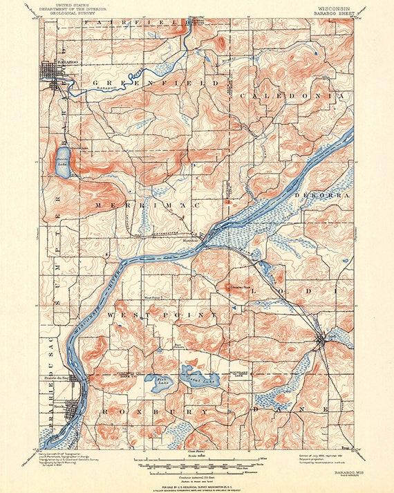 1895 Topo Map Of Baraboo Wisconsin Quadrangle Etsy