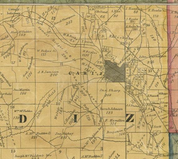 1862 Farm Line Map Of Harrison County Ohio Cadiz Etsy