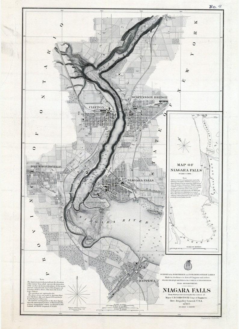 1875 Nautical Chart Map Of Niagara Falls New York Usa Canada