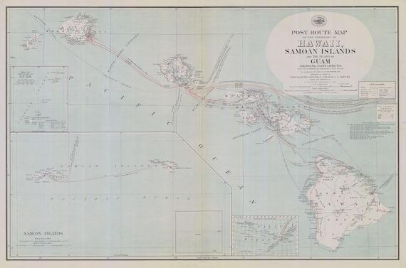 Guam And Hawaii Map.1908 Map Of Hawaii Samoan Islands And Island Of Guam Etsy