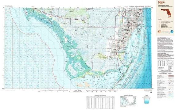 Topo Map Florida.1988 Topo Map Of Miami Florida Quadrangle Everglades Etsy