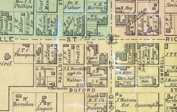 1879 Map of Lancaster Garrard County Kentucky