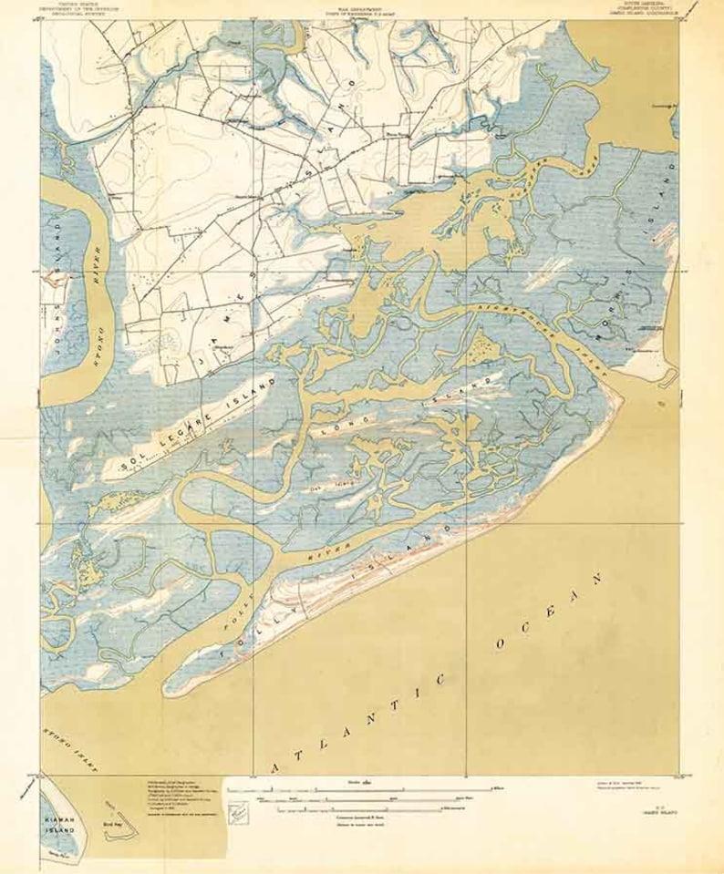 1919 Topo Map Of James Island South Carolina Quadrangle Folly Etsy