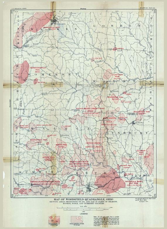 Woodsfield Ohio Map.1914 Oil Gas Field Map Of Woodsfield Quadrangle Belmont Etsy