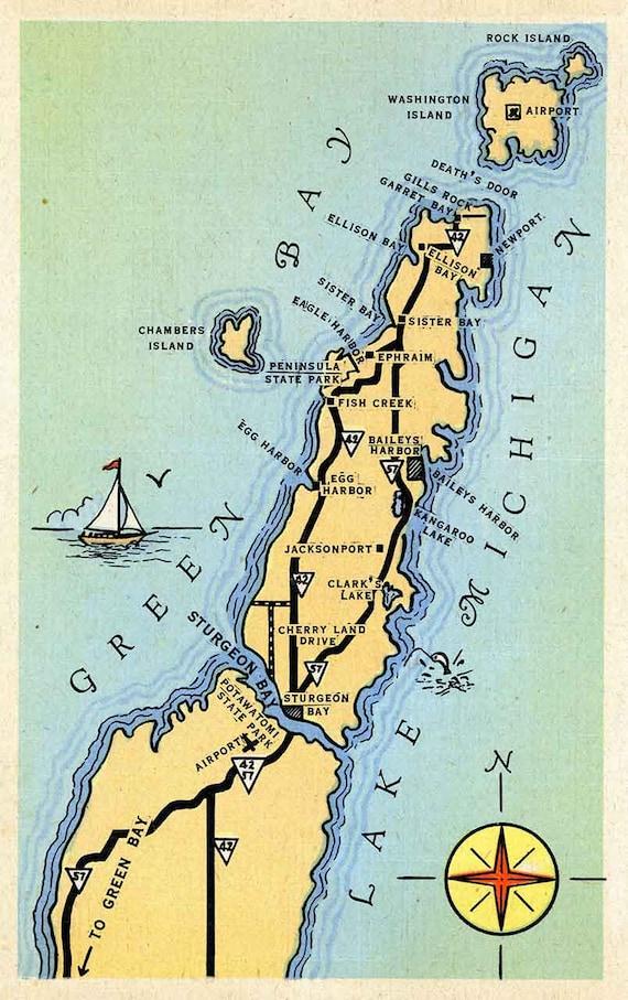 cartoon map of door county wisconsin etsy cartoon map of door county wisconsin