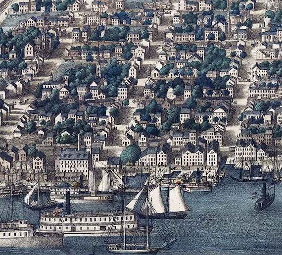 Bird/'s Eye View 1863 Alexandria VA Vintage Style City Map 20x30