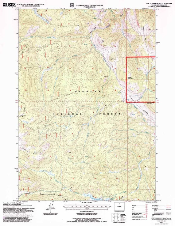 1993 Topo Map of Walker Mountain Wyoming WY Bighorn Forest