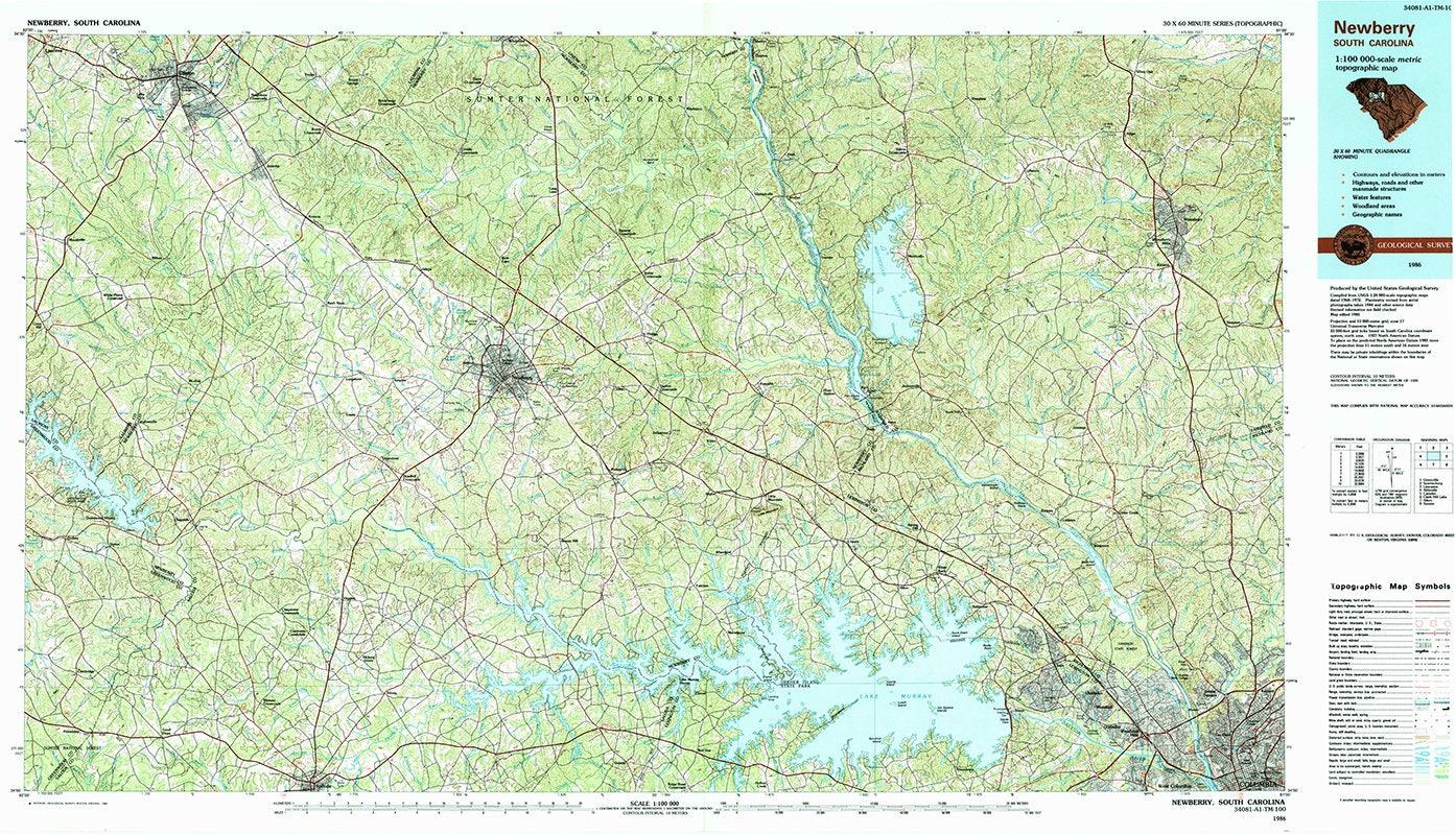 1986 Topo Map Of Newberry South Carolina Quadrangle Etsy