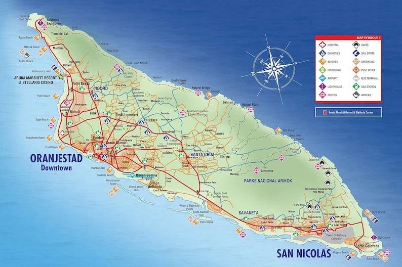 Karte Von Aruba 2019 Etsy