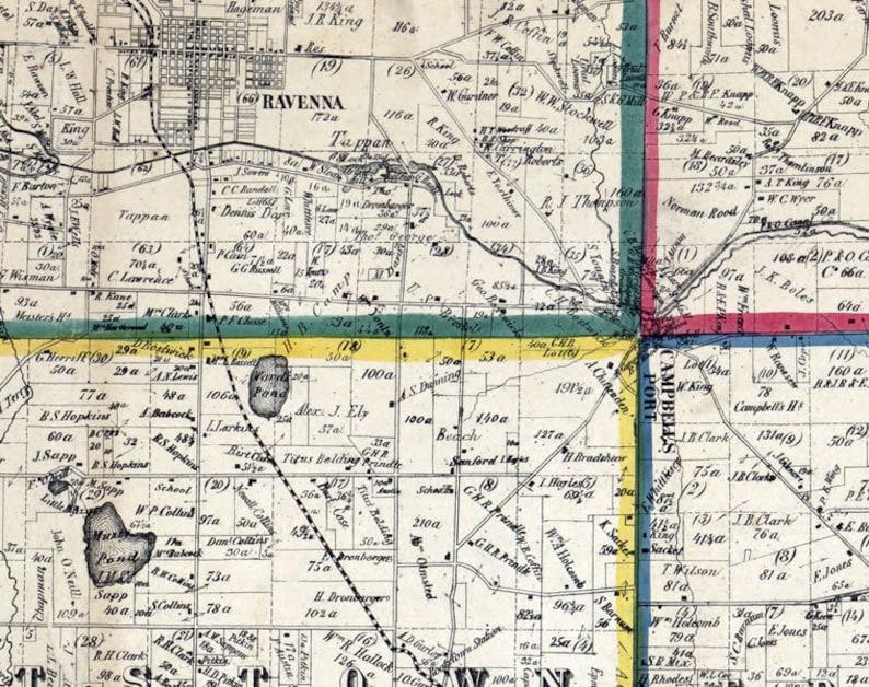 1857 Farm Line Map of Portage County Ohio Ravenna Franklin Mills