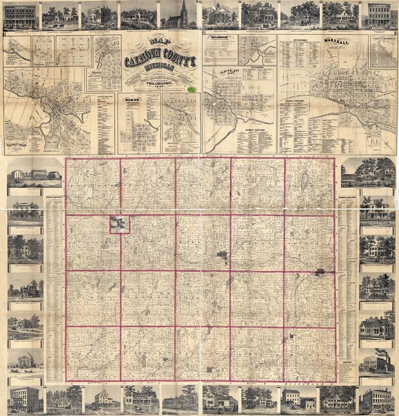 1858 Farm Line Map of Calhoun County Michigan Battle Creek Marshall