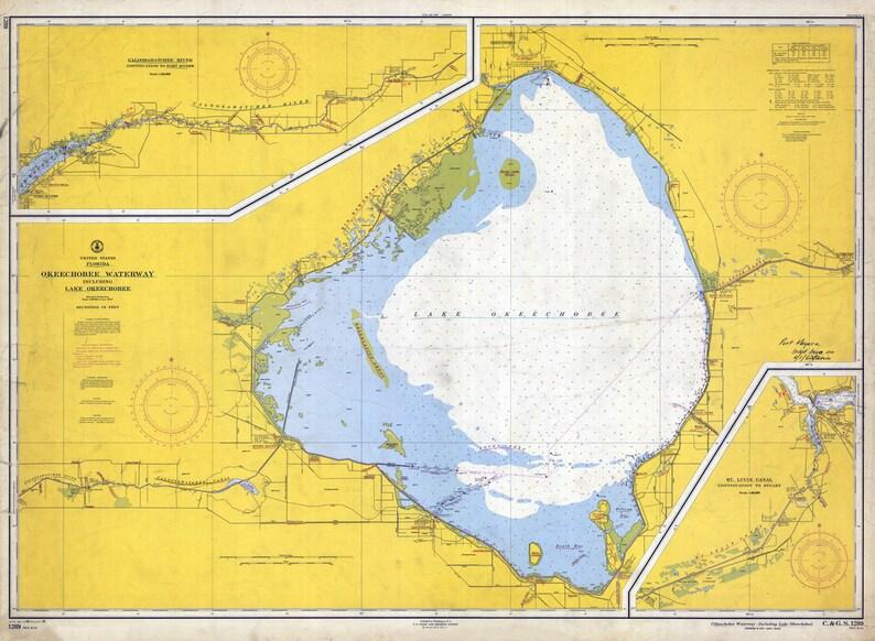 1958 Nautical Map Of Lake Okeechobee Florida Etsy