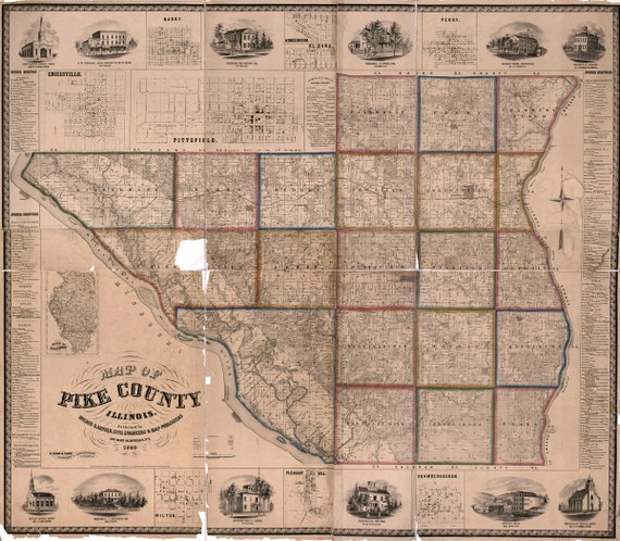 1860 Map Of Pike County Illinois Pittsfield Etsy