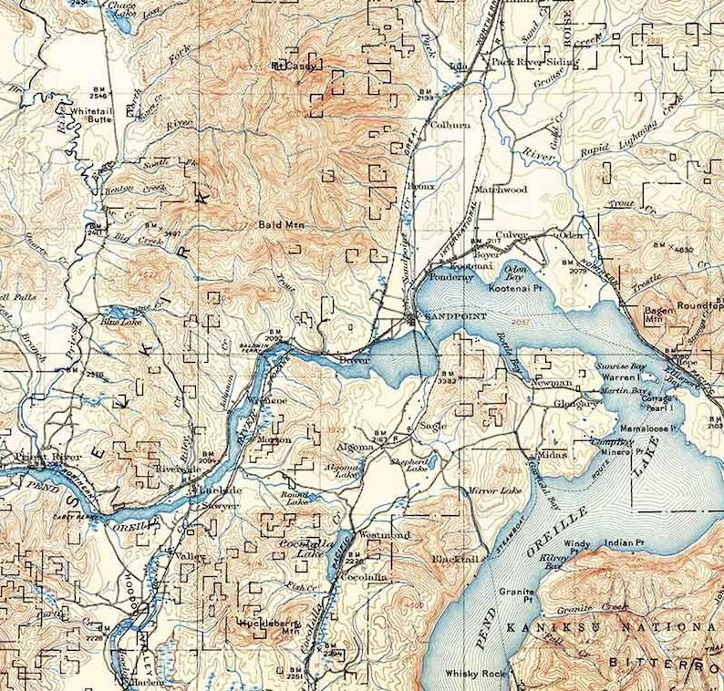 1911 Topo Map of Priest Lake Idaho Quadrangle