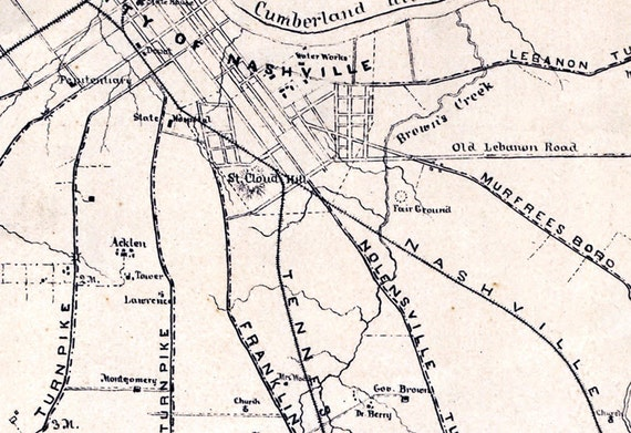 1862 Map of Nashville Tennessee area landowners