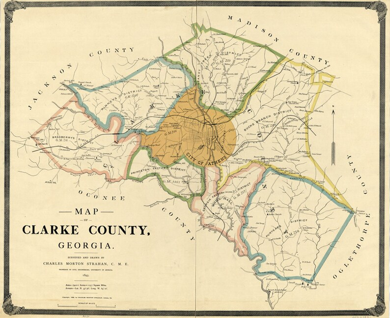 Map Of Georgia Athens.1898 Map Of Clarke County Georgia Athens Landowner Reprint