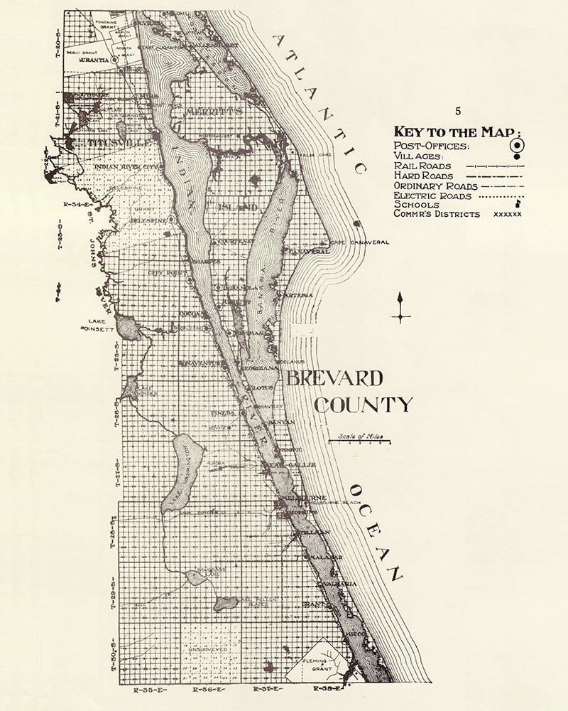 Map Of Brevard County Florida.1914 Map Of Brevard County Florida Etsy