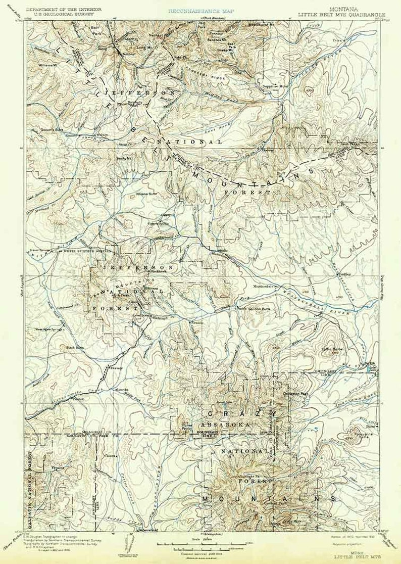 1902 Topo Map of Little Belt Mountains Montana