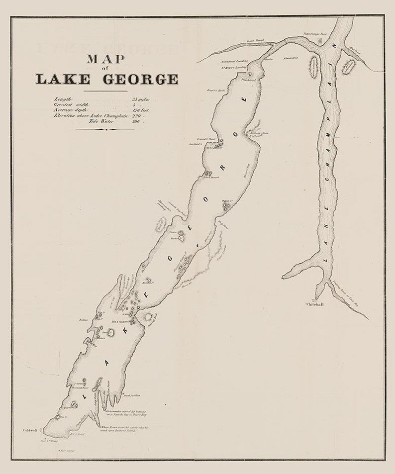 1853 Map of Lake George New York