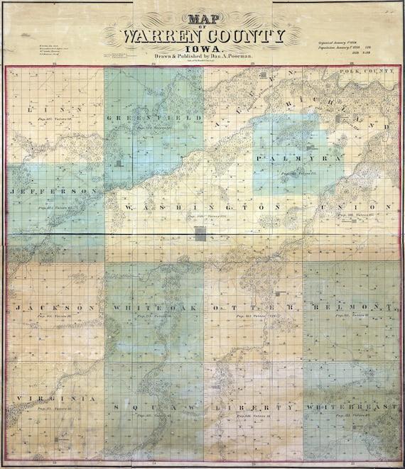 Warren County Iowa Map.1859 Farm Line Map Of Warren County Iowa Indianola Etsy