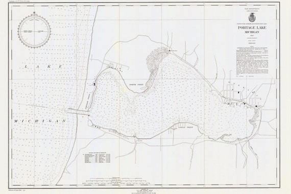 Portage Lake Michigan Map.1944 Nautical Map Of Portage Lake Manistee County Michigan Etsy