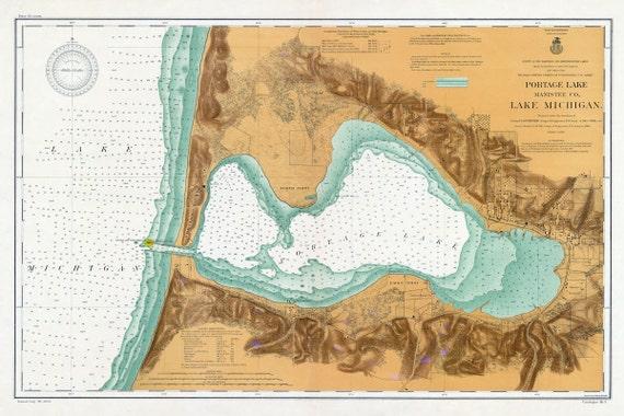 Portage Lake Michigan Map.1906 Nautical Map Of Portage Lake Manistee County Michigan Etsy