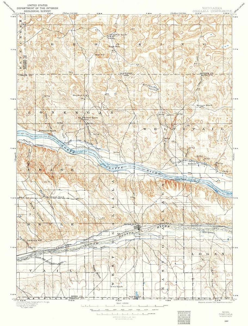 1897 Topo Map Of Ogallala Nebraska Etsy