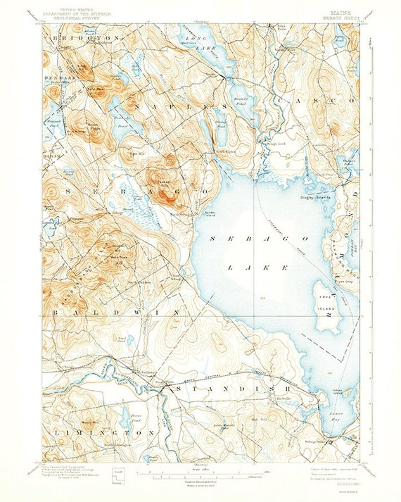 Topo Map Of Maine.1896 Topo Map Of Sebago Lake Maine Etsy