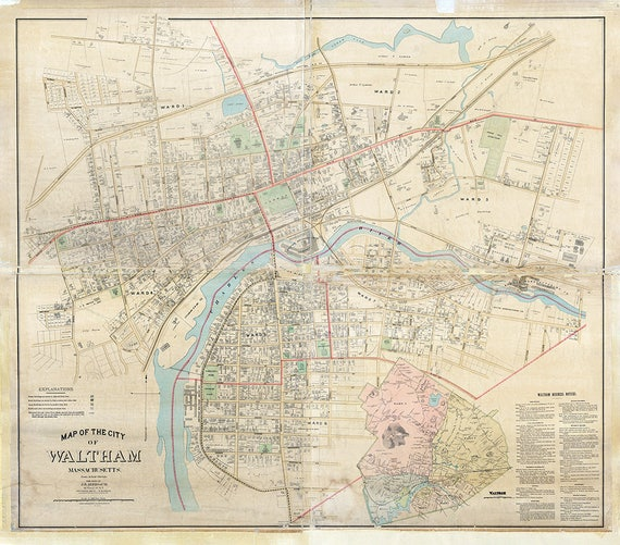 1886 Map Of Waltham Massachusetts Etsy