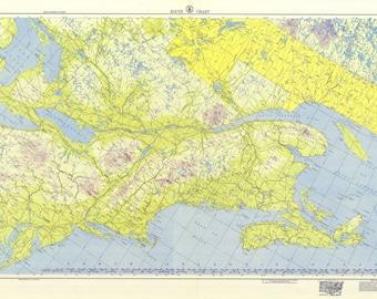 1953 nautical map of us canada east coast