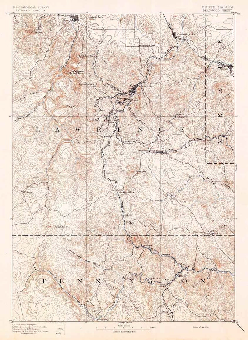 1894 Topo Map of Deadwood South Dakota | Etsy Deadwood Map on
