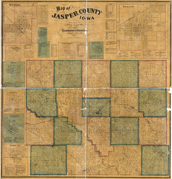 Jasper County Iowa Map.1871 Map Of Jasper County Iowa Etsy