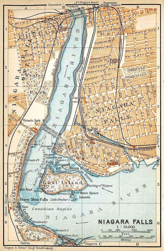 1907 Map Of Niagara Falls Canada