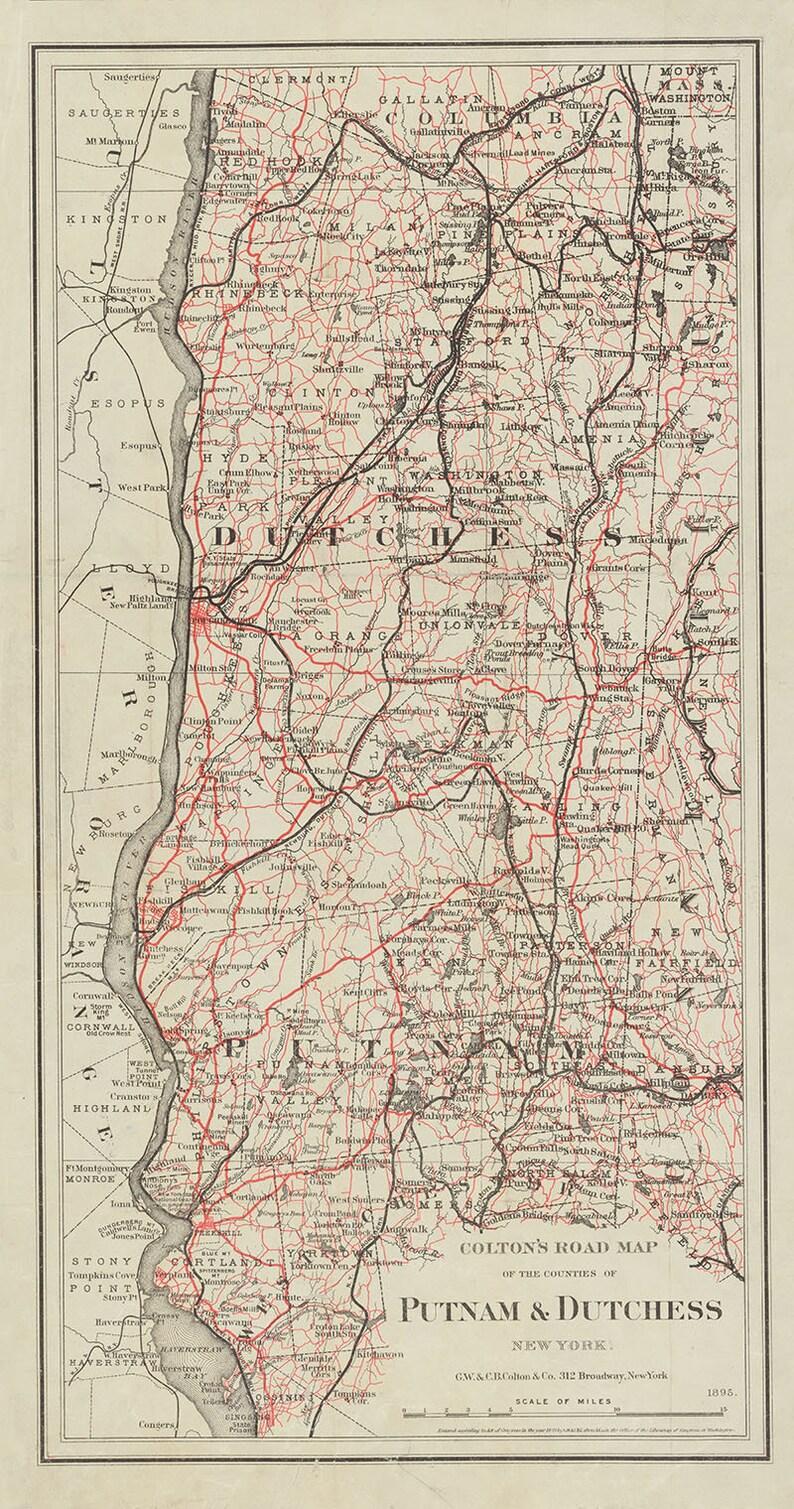 1895 Map of Putnam & Dutchess County New York | Etsy