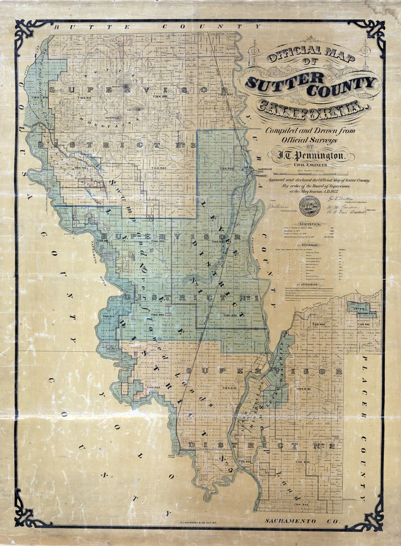 1873 Map of Sutter County California   Etsy
