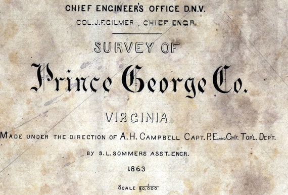 1863 Map of Prince George County Virginia Family Names Genealogy