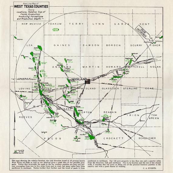 Map Of Texas Midland.1930 Pipeline Map Of West Texas Counties Midland Winkler Mitchell Upton Crockett