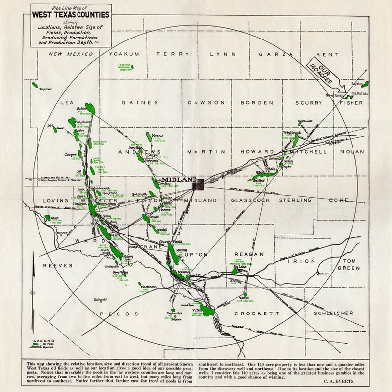 1930 Pipeline Map of West Texas Counties Midland Winkler | Etsy