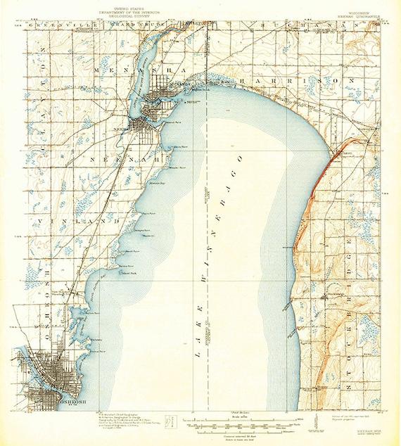 1911 Topo Map Of Neenah Wisconsin Quadrangle Showing Fond Du Etsy