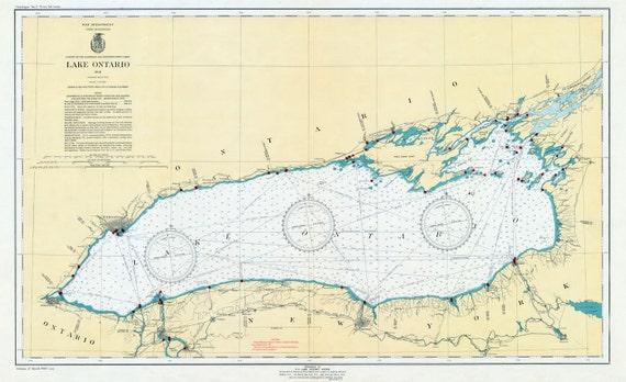 1941 Nautical Map of Lake Ontario | Etsy
