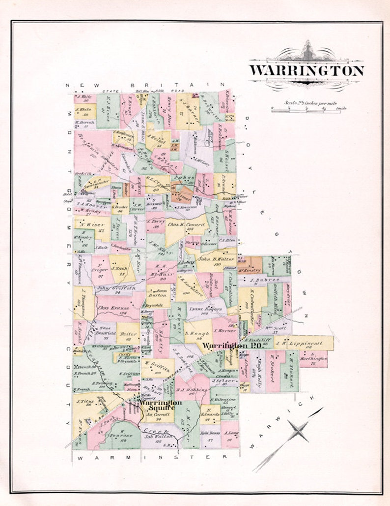 1891 Map of Warrington Township Bucks County Pennsylvania