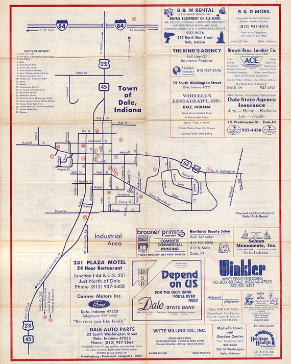 Town Map Of Dale Spencer County Indiana Etsy