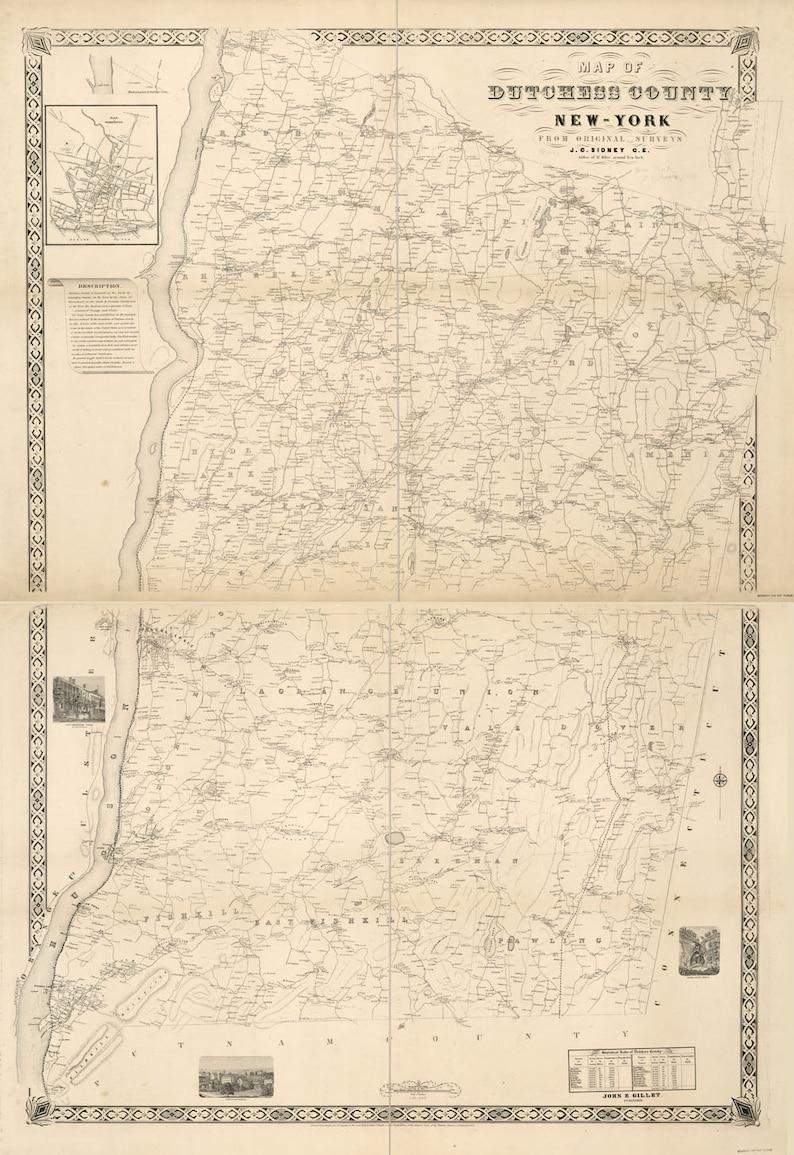 1850 Map of Dutchess County NY from actual surveys | Etsy
