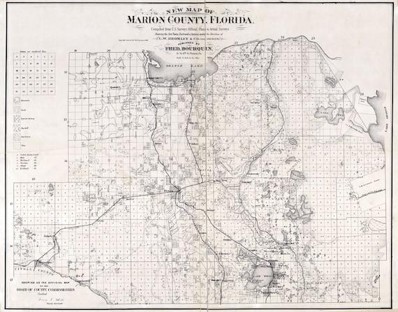 Marion County Florida Map.1887 Map Of Marion County Florida Ocala Etsy