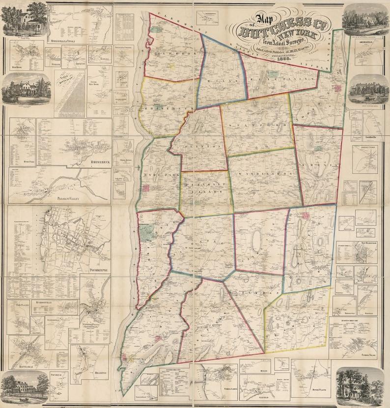 1858 Map of Dutchess County NY from actual surveys | Etsy