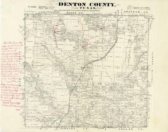 1870 Map Of Texas.1870 Map Of Denton County Texas Etsy
