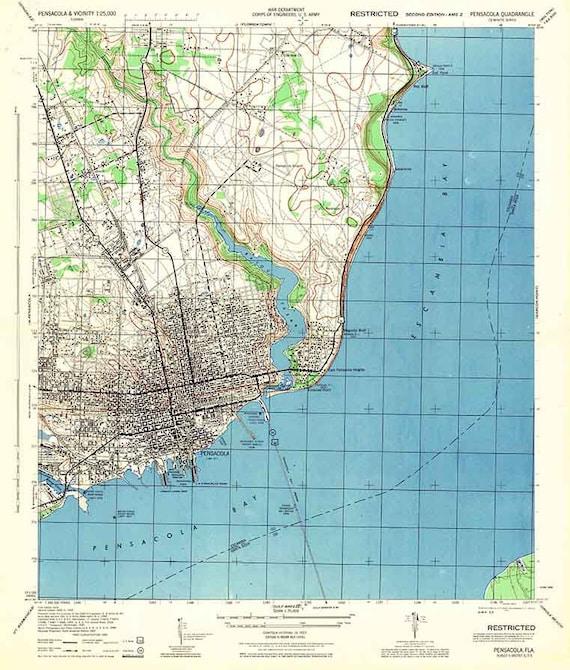 1944 Topo Map of Pensacola Florida Quadrangle