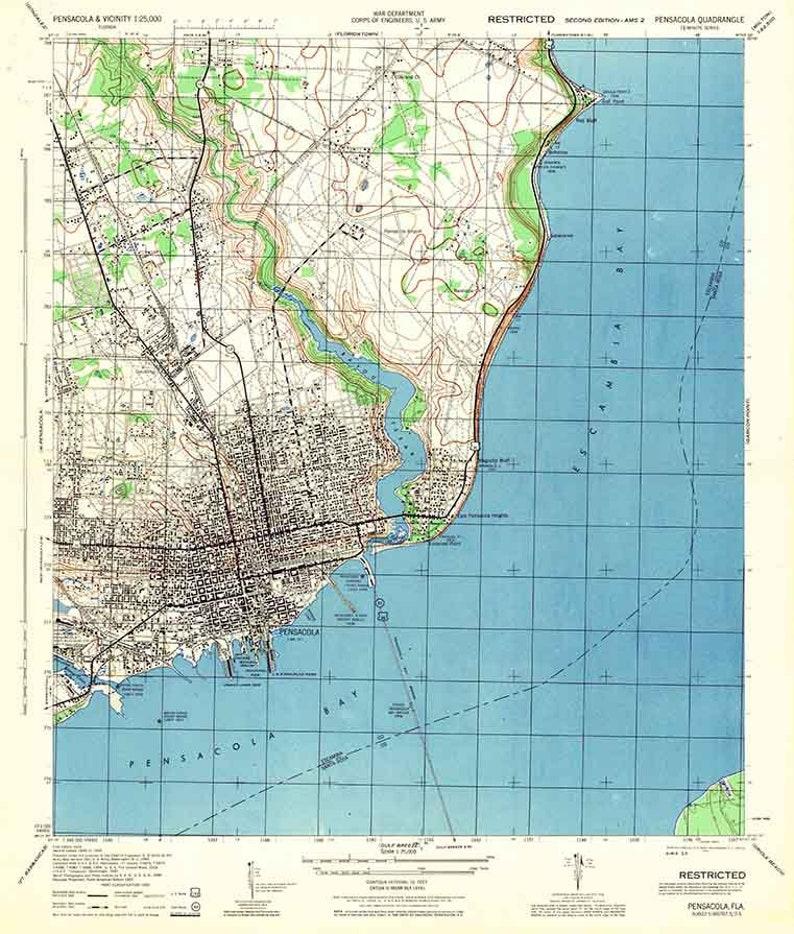 Topo Map Florida.1944 Topo Map Of Pensacola Florida Quadrangle Etsy